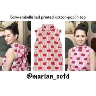 Bow embellished poplin to