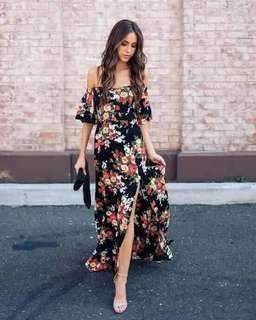 🐢Off shoulder Floral Maxi dress