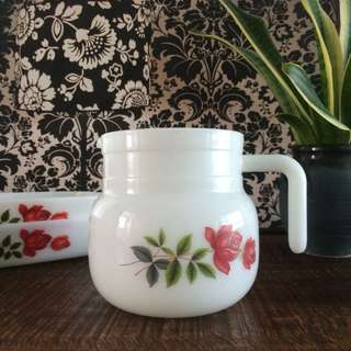 June Rose Milk Glass Coffee Pot