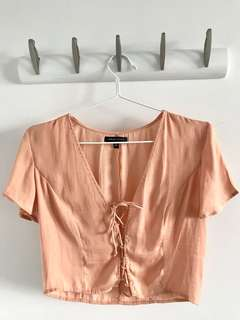 Peach Lace Up Top