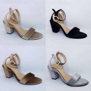 Shiny Suede Block Heels