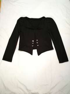Black Puffed Sleeve Blazer