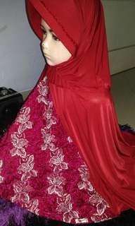 Preloved jilbab marun cantik 38k