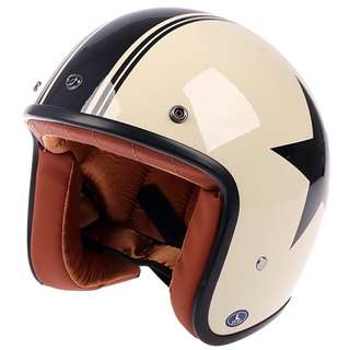 Cream Beige Off White with Black Stripe and Star Brown Inner Motorcycle Helmet Open Face Three Button Snap Retro Vintage Vespa Scooter Cafe Racer Motorbike Leather Gloss Old School