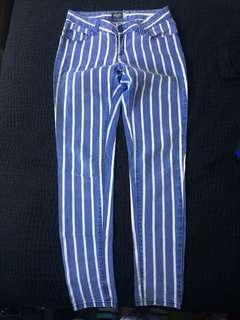 Blue striped jeans