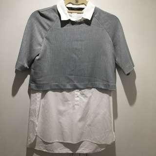 Zara White Bloused Mixed W/ Gray