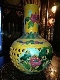 Chinese vintage Porcelain vase handpainted with cut out pattern lotus design