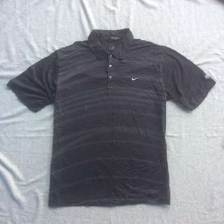 NIKE GOLF TIGER WOODS SPORT POLO SHIRT BLACK LINED GREY