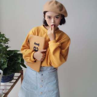 [ON SALE! RM 20] yellow knitted top