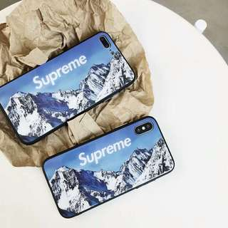 Supreme Snow Mountain Glass Case For iPhone 7/8/X