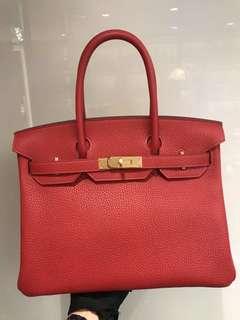 正品 全新 Hermes Birkin 30 Q5 紅色金扣手挽袋