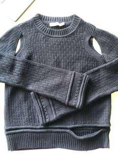 Black cut-out knit jumper