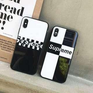 Supreme Black & White Glass Case For iPhone 7/8/X