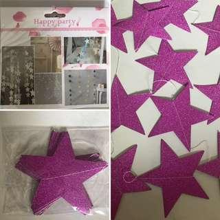 Purple Glitter Stars Garland