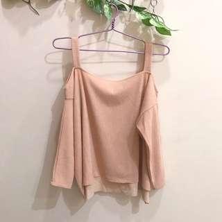 Off shoulder pink sweater