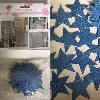 Blue Glitter Stars Garland
