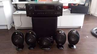 Kef Sound System and Denon Receiver
