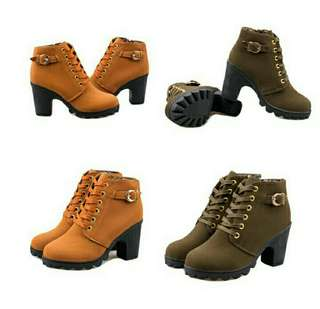 Ankle Lace Up Boots - BROWN