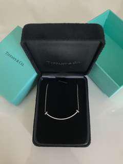 Tiffany and Co. 18k White Gold Diamond T Smile Pendant