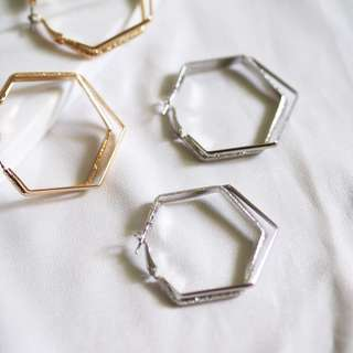 Metal double hexagon hoop earrings 耳環