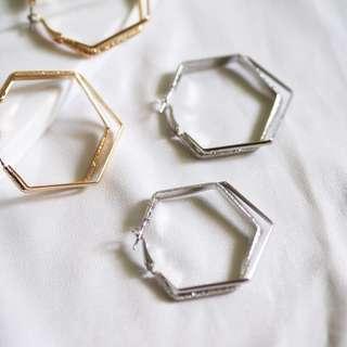 Metal double hexagon hoop earrings 耳環