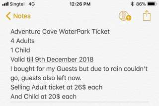 Adventure cove water park ticket