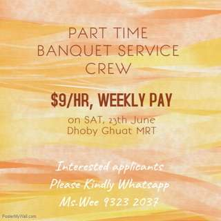 Up to $10/H || Banquet Service Crews needed