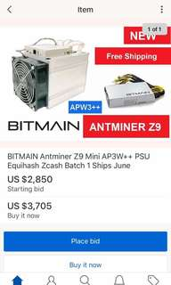 BITMAIN Z9 MINI MINING MACHINE