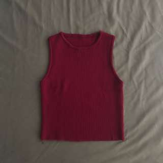Wine Red Ribbed Sleeveless Crop Top