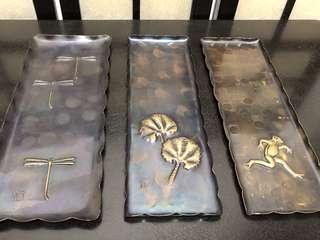 玉川堂銅刻筆皿3個