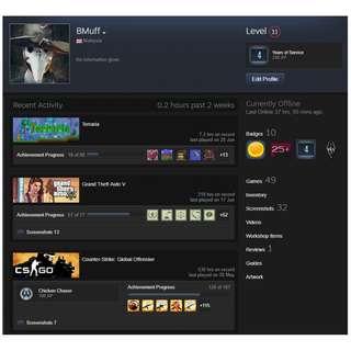 Level 11 Steam Account with 30+ Games (CSGO, GTA V & MORE)