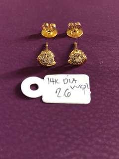 14k Diamond Earrings VVSPL 2.6gms