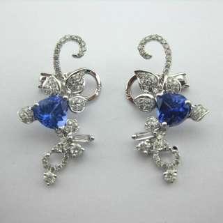 18K白金耳環 2卡67份坦桑石 1.23份鑽石 18K Withe gold Earrings 2.67ct Tanzanite 1.23ct Diamond 可議價