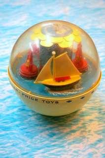 古董Fisher Price帆船音樂不倒翁玩具