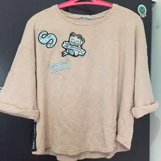 BERSHKA SWEATER WITH PATCHES