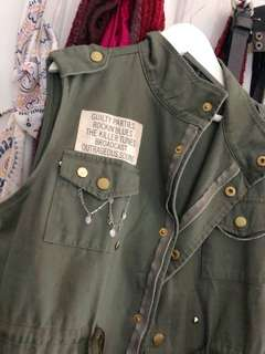 Military Style Vest with Chains and Pins
