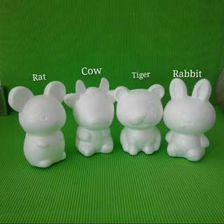 White Foam  Animal Shapes