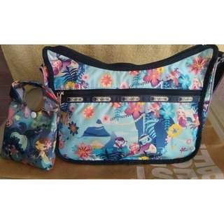 "lesportsac bag disney small world IASW tahitian dreams mermaid  bag size 8x12"" with similar design tote bag size 13x16"""