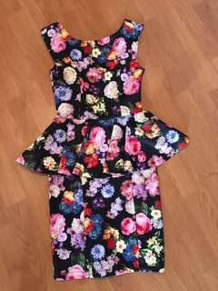 Topshop Floral Peplum Dress
