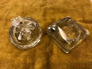Crystal Glass Square & Apple Box (for ring / jewellery)