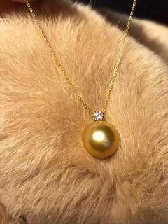 100%天然南洋金珠正圓11-12mm 濃金色配18k鑽石吊咀