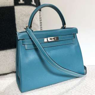 Hermes Kelly 28 Blue Jeans