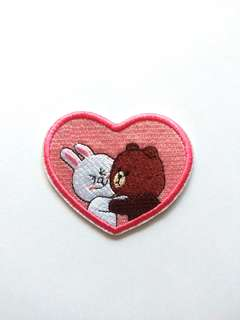 Line Brown Bear Cony Heart Love Iron On Patch