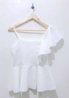 one shoulder ruffled top (white)