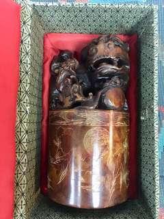"""中國貔貅壽山石9""""大玉璽一盒, 可作裝飾擺設印章等 手工精美丶值得收藏!"""