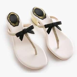 🚚 060506(35~39) 羊皮水鑽夾腳拖鞋