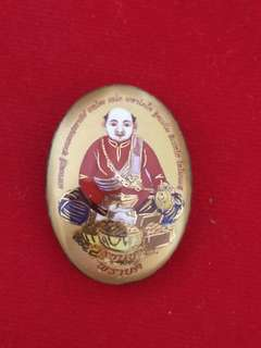 Thai amulets Locket Kru Pu Khun Chang Pised Pim lek Gold takrut