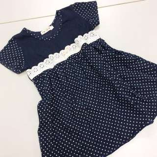 [FREE WITH ANY PURCHASE] Kids Polka Dotted Dress with Lace Accent.