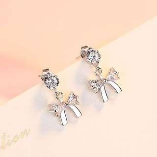 純銀針防過敏鋯石蝴蝶結耳釘耳環小耳骨釘韓國氣質簡約耳飾品女