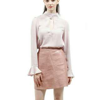 🚚 [INSTOCK] Pink PU Leather A-Line Skirt